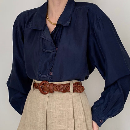 Vintage Indigo Silk Button Up Blouse