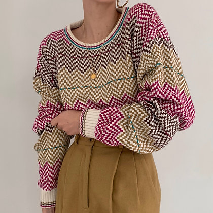 Vintage Dior Checkered Knit Sweater