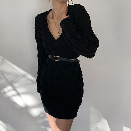 Vintage Noir Cable Knit V-Neck Sweater Dress