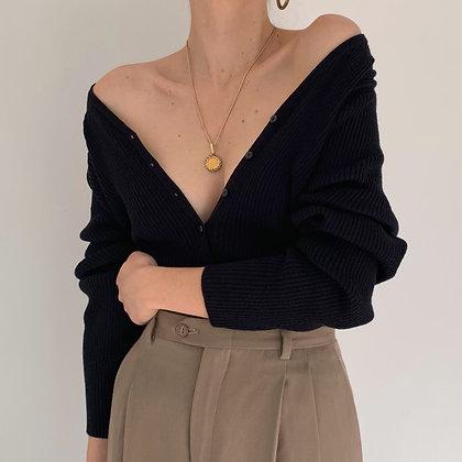 Vintage Black Ribbed Knit Cardigan