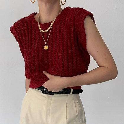 Vintage Merlot Cropped Sleeveless Knit Top