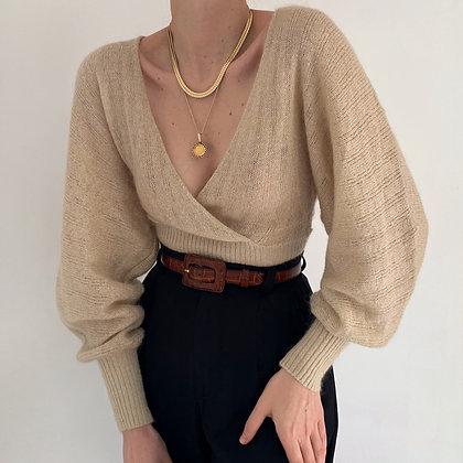 Vintage Oat Mohair Knit Balloon Sleeve Top