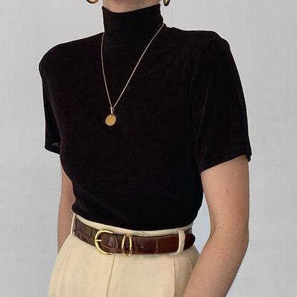 Essential Vintage Noir Slinky Mock Neck Shirt