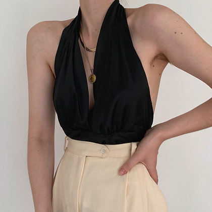 Vintage Noir Silk Charmeuse Halter Blouse