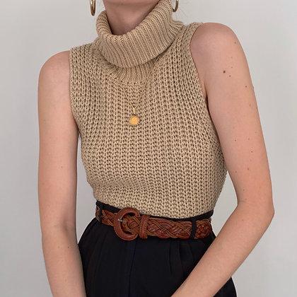 Vintage Latte Knit Sleeveless Turtleneck