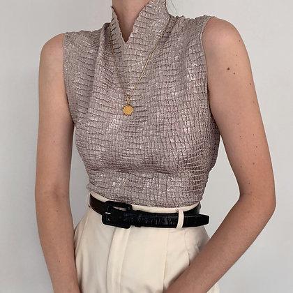 Vintage Taupe Textured Sleeveless Top
