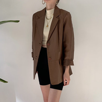 Vintage Chestnut Leather Blazer Jacket