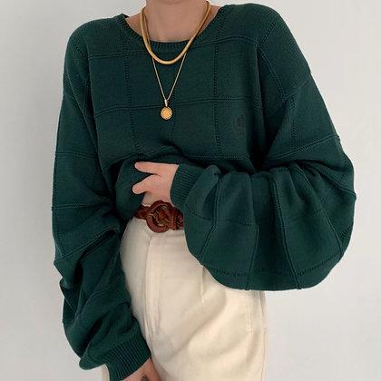 Deadstock Vintage Izod Pine Grid Knit Sweater
