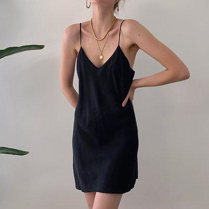 Vintage Onyx Silk Slip Dress