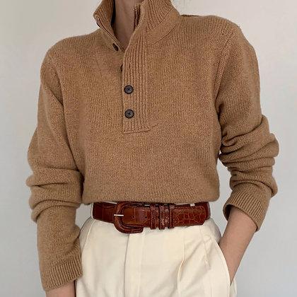 Vintage Camel Cashmere Knit Henley Sweater