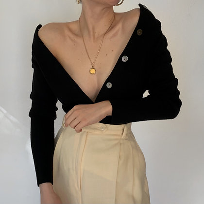 Vintage Noir Merino Wool Knit Cardigan