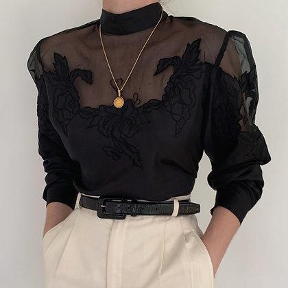 Vintage Noir Silk Floral Embroidered Blouse