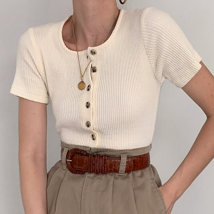 Vintage Cream Buttoned Ribbed Knit Top