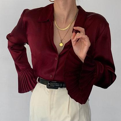 Vintage Oscar de la Renta Merlot Silk Blouse