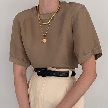 Vintage Minimalist Taupe Silk Shirt