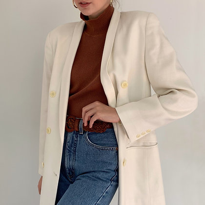 Vintage Ivory Double Breasted Blazer