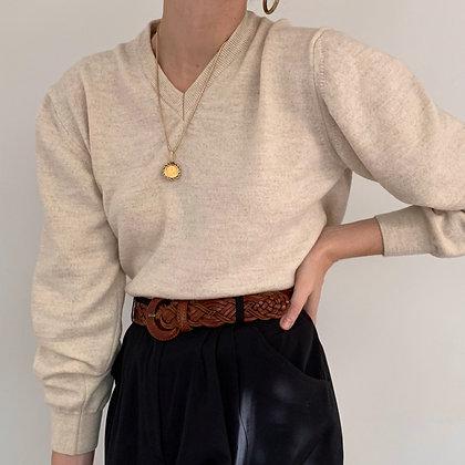 Vintage Italian Sand Wool Knit Pullover