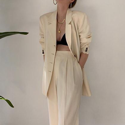 Vintage Cream Wool Pantsuit (27W)