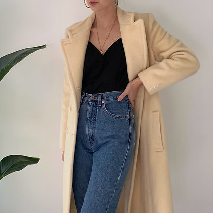 Vintage Ivory Wool Double-Breasted Coat