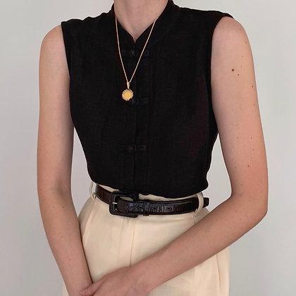 Vintage Eileen Fisher Onyx Mandarin Top
