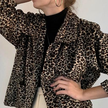 Vintage Leopard Print Plush Jacket