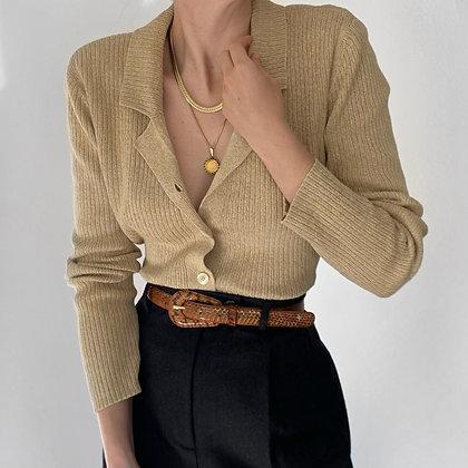 Vintage Blonde Ribbed Knit Collared Cardigan
