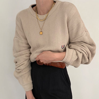 Vintage Chaps Sand Striped Knit Sweater