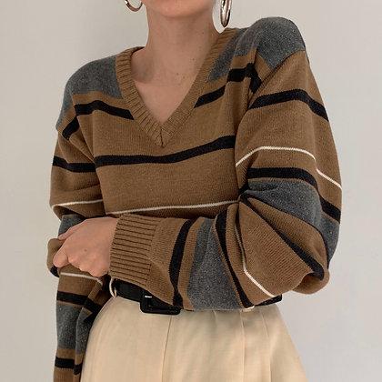 Vintage Oscar De La Renta Striped Knit Sweater