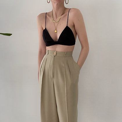 Vintage Sand High-Waisted Trousers (27W)