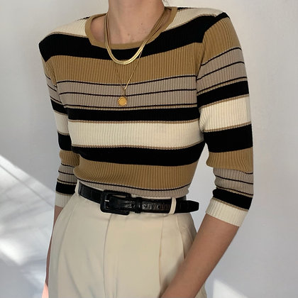 Vintage Neutral Striped Knit Square Neck Top