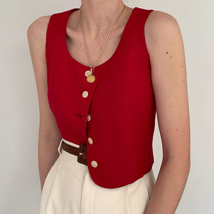 Vintage Cherry Buttoned Cropped Tank