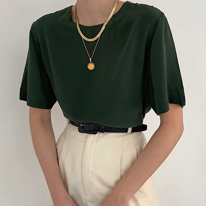 Vintage Pine Silk Boxy Shirt