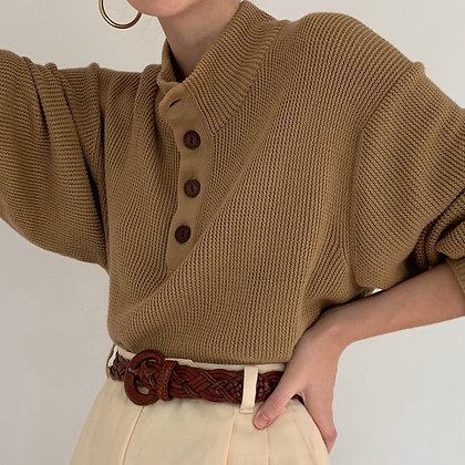 Vintage Camel Knit Henley Sweater