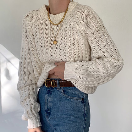 Vintage Creme Chunky Knit Cropped Sweater