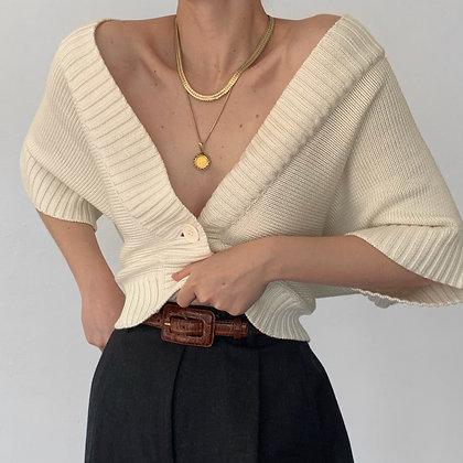 Vintage Creme Buttoned Dolman Sleeve Knit Top