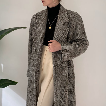 Vintage Speckled Double-Breasted Long Overcoat