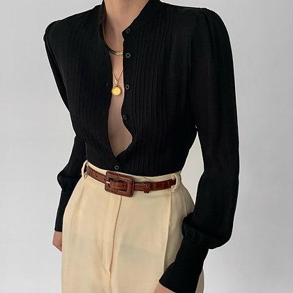 Vintage Ralph Lauren Noir Silk Pintucked Blouse