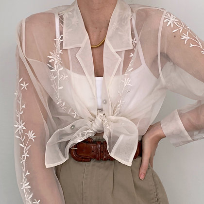 Vintage Ivory Sheer Floral Silk Blouse