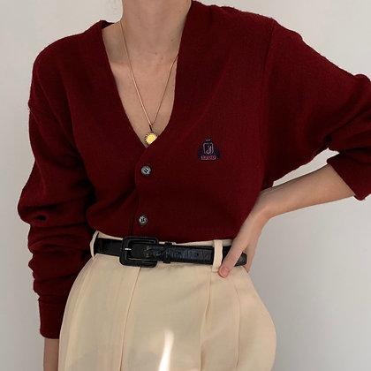 Vintage Garnet Knit Cardigan Sweater