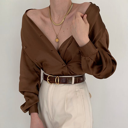 Vintage Coffee Silk Double-Breasted Blouse