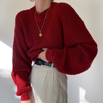 Vintage Ruby Chunky Knit Pullover Sweater