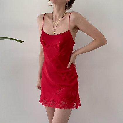 Vintage Victoria's Secret Ruby Silk Lacy Slip Dress