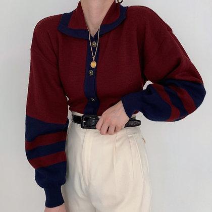 Favorite Vintage Midnight & Wine Striped Sweater