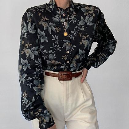 Vintage Ocean Floral Silk Charmeuse Blouse