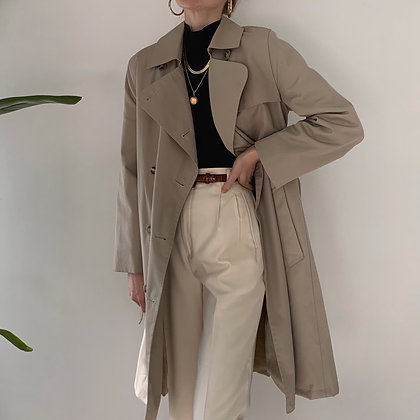 Vintage Sand Double-Breasted Tie Trench Coat