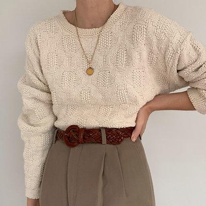 Vintage Cream Textured Knit Sweater