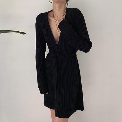 Vintage Onyx Ribbed Knit Longline Cardigan