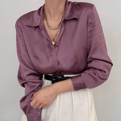 Vintage Lavender Charmeuse Silk Button Up