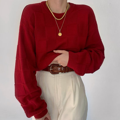 Favorite Vintage Cherry Checkered Knit Sweater