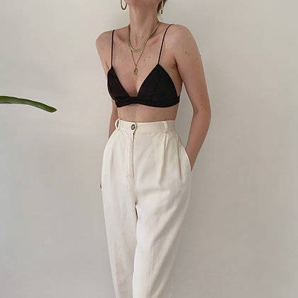 Vintage Snow Linen High-Waisted Trousers
